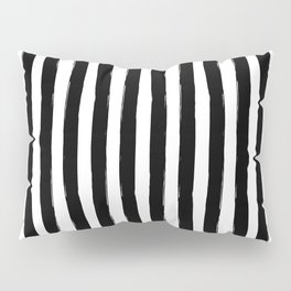 Black and White Cabana Stripes Palm Beach Preppy Pillow Sham