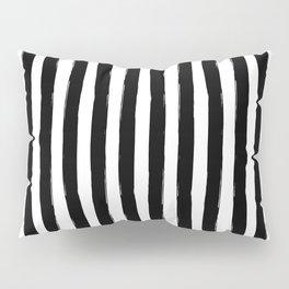 Black and White Cabana Stripes Palm Beach Preppy Pillow Sham