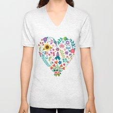 Floral Heart Unisex V-Neck