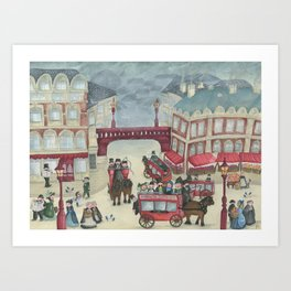 Old London and its commuters - A illustration inspired by victorian London Art Print