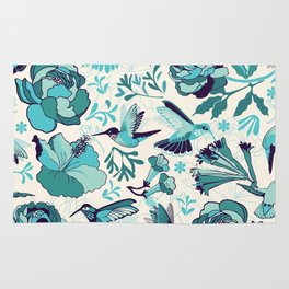 Hummingbird summerdance, Blue Rug