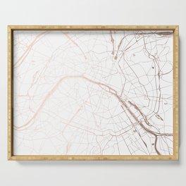 Paris France Minimal Street Map - Rose Gold Glitter Serving Tray