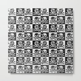 Swimming Glyphs and Sunflowers: Checkered Version With Skulls Metal Print