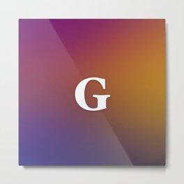 Monogram Letter G Initial Orange & Yellow Vaporwave Metal Print