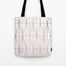 Modern geometric triangles faux rose gold pattern on white marble Tote Bag
