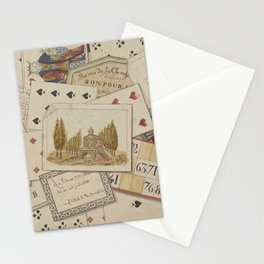 TROMPE L'OEIL Playing Cards Music Notes - 19th century France King Color Drawing Home Decor - Wall Engraving Stationery Cards