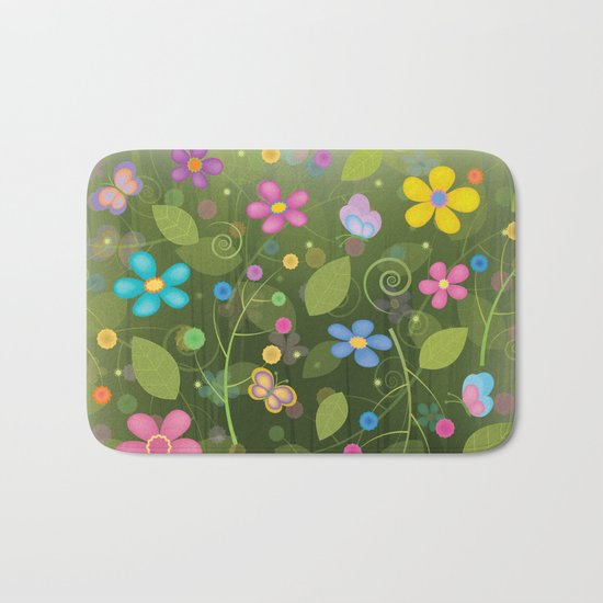 Floral and Butterfly Pattern - Summer Blooms Bath Mat
