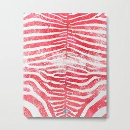 Zebra Stripes | Distressed Red and White | Watercolor Animal Print Art Metal Print