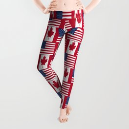 Mix of flag : Usa and Canada Leggings