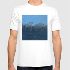 world map wanderlust forest blue White Mens Fitted Tee MEDIUM