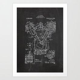 Patent combustion engine Art Print