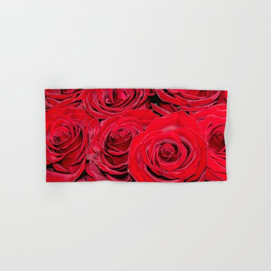 Bed of red roses- Photography pattern of red rose Hand & Bath Towel