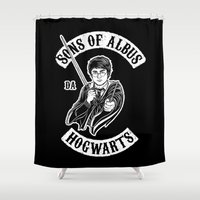 sons of anarchy Shower Curtains featuring Sons of Albus by Six Eyed Monster