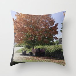 Fall time at the farm Throw Pillow