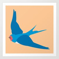 swallow Art Prints featuring Swallow by Graeme Luey