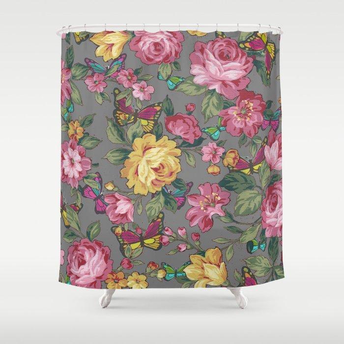 Butterflies Roses Shower Curtain