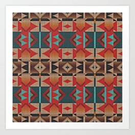 Native American Indian Tribal Mosaic Rustic Cabin Pattern Kunstdrucke