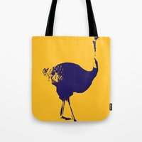 ostrich Tote Bags featuring Ostrich by Auberginette
