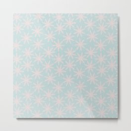 Merry christmas - Knit pink snowflakes and snow on aqua background Metal Print