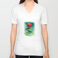 sun V-neck T-shirts featuring Reach the Sun! by Klara Acel