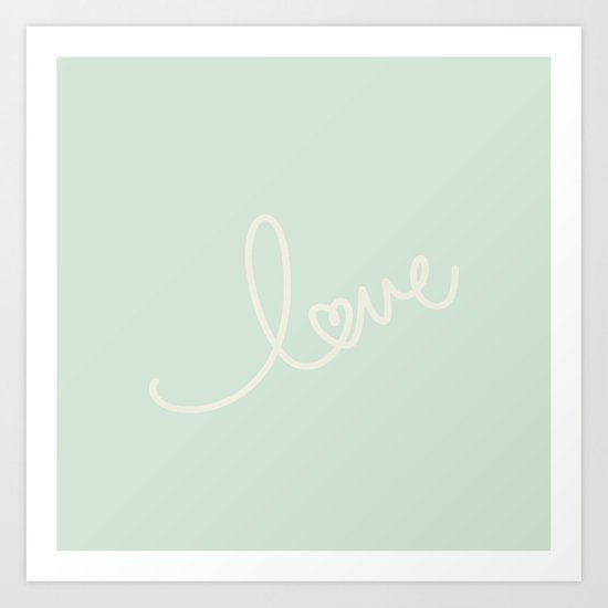 LOVE - Typography on mint green background Art Print