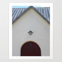 Door to the Little White Church in Denmark  Art Print