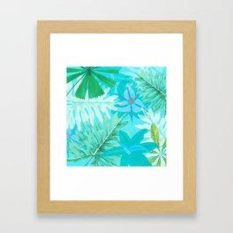 My blue abstract Aloha Tropical Flower Jungle Garden Framed Art Print