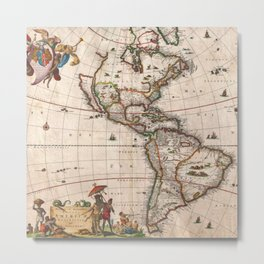1658 Visscher Map of North America and South America (with 2015 enhancements)  Metal Print