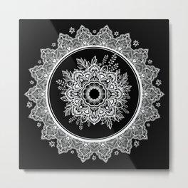 Bohemian Lace Paisley Mandala White on Black Metal Print