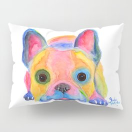 Nosey Dog French Bulldog ' AM I FRENCH ? ' by Shirley MacArthur Pillow Sham
