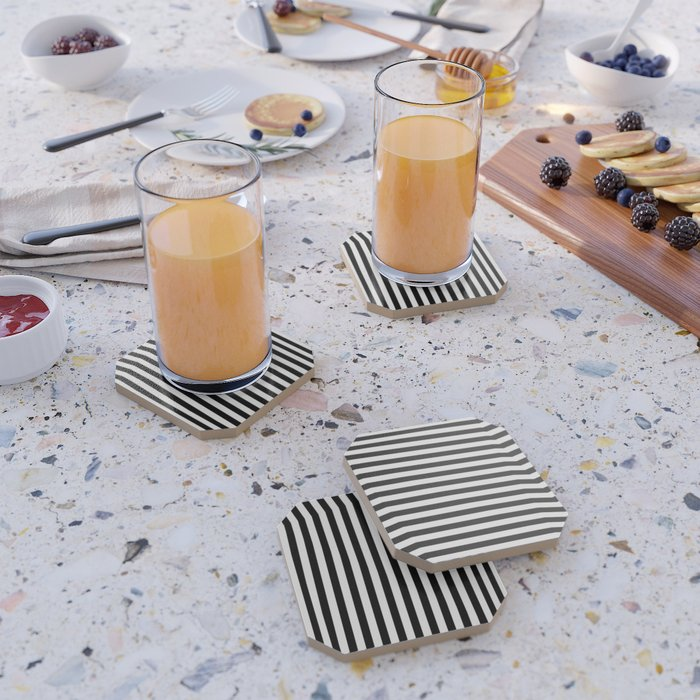 Stripe Black & White Vertical Coaster