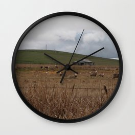 Sheep on the first day of winter Wall Clock