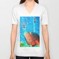 swim V-neck T-shirts featuring Swim by John Turck