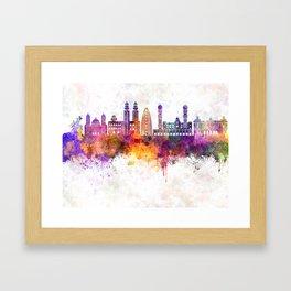 Dakar skyline in watercolor background Framed Art Print