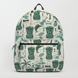 Tropical Tiki - Cream & Aqua Backpack