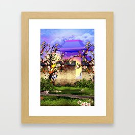 Cherry tree blossom in front of the temple Framed Art Print