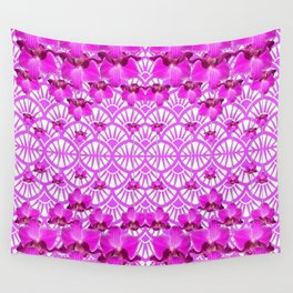 ABSTRACT PATTERNED PURPLE ART DECO  ORCHIDS Wall Tapestry