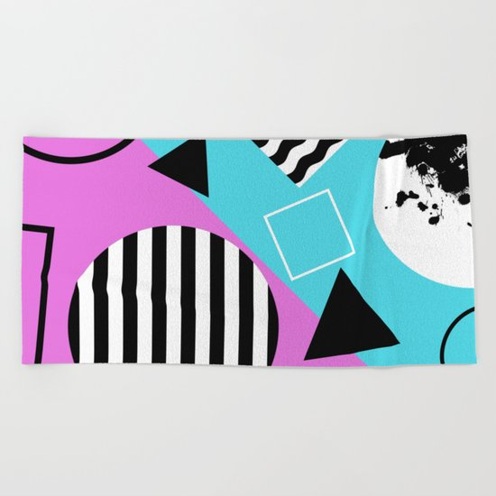 Stripes And Splats 1 - Wacky, Random, Abstract, Black And White Stripes, Blue and pink Artwork Beach Towel