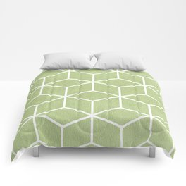 Lime Green and White - Geometric Textured Cube Design Comforters