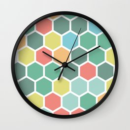 Texture hexagons - Spring's colors Wall Clock