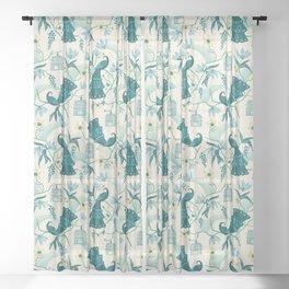 Aviary - Cream Sheer Curtain