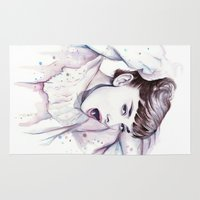 hepburn Area & Throw Rugs featuring Audrey Hepburn Watercolor by Olechka