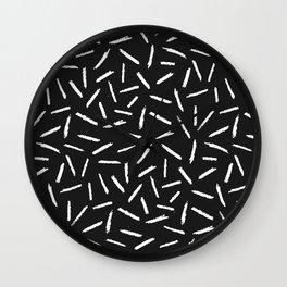 Black & White Scribble Confetti Pattern Wall Clock