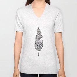 Aztec black and white feather Unisex V-Neck