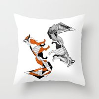 literature Throw Pillows featuring literature fox 2 by vasodelirium