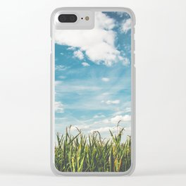 Green Field Blue Sky Clear iPhone Case