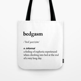 Bedgasm black and white contemporary minimalism typography design home wall decor bedroom Tote Bag