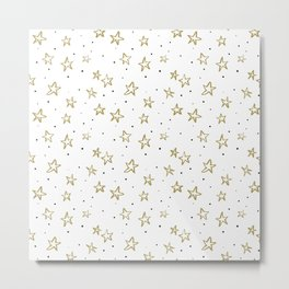 Gold stars and dots Metal Print