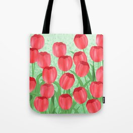 Red Tulip Field Tote Bag