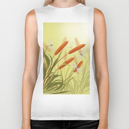 the reeds and dragonflies on the rising sun background Biker Tank
